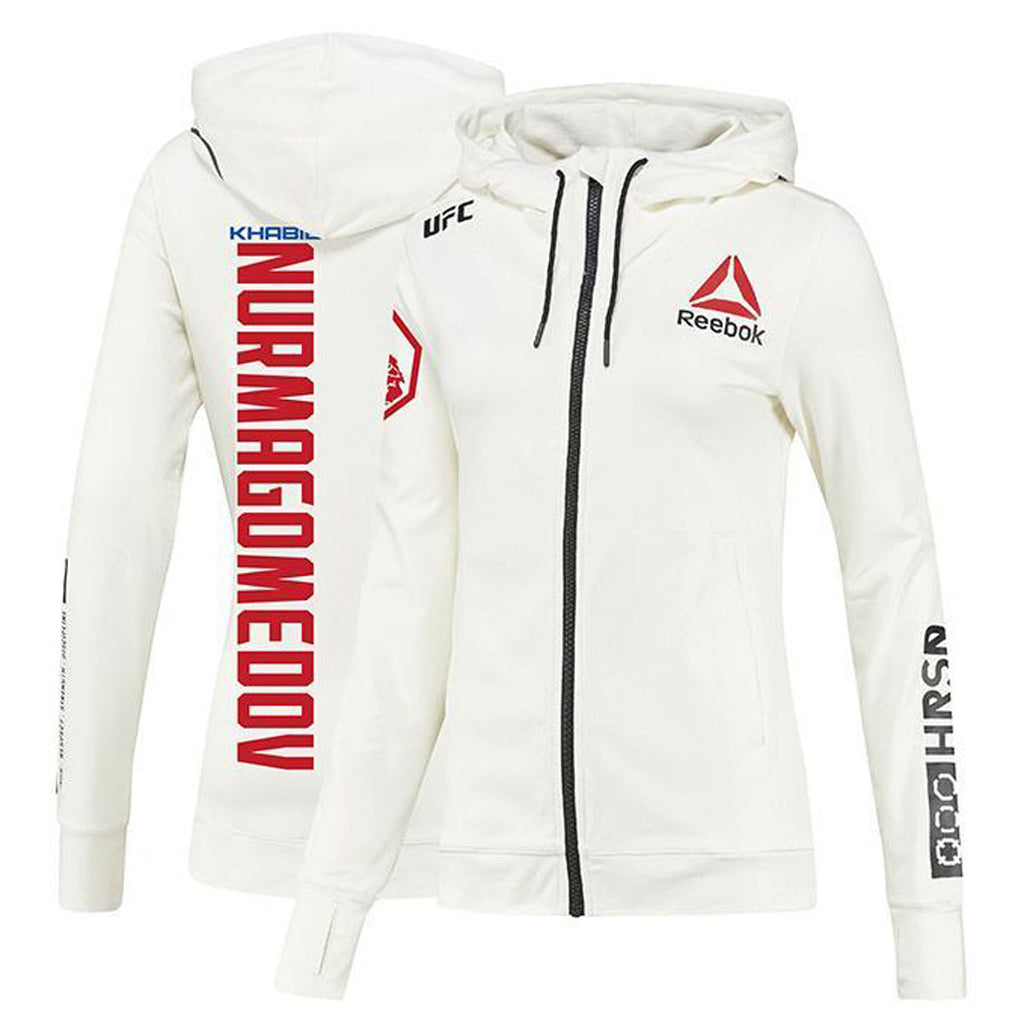 Women's Reebok Khabib Nurmagomedov Chalk UFC Fight Night Walkout Hoodie Replica