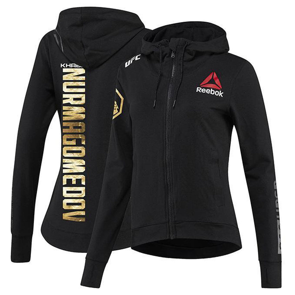 Women's Reebok Khabib Nurmagomedov Champion UFC Fight Night Walkout Hoodie Replica