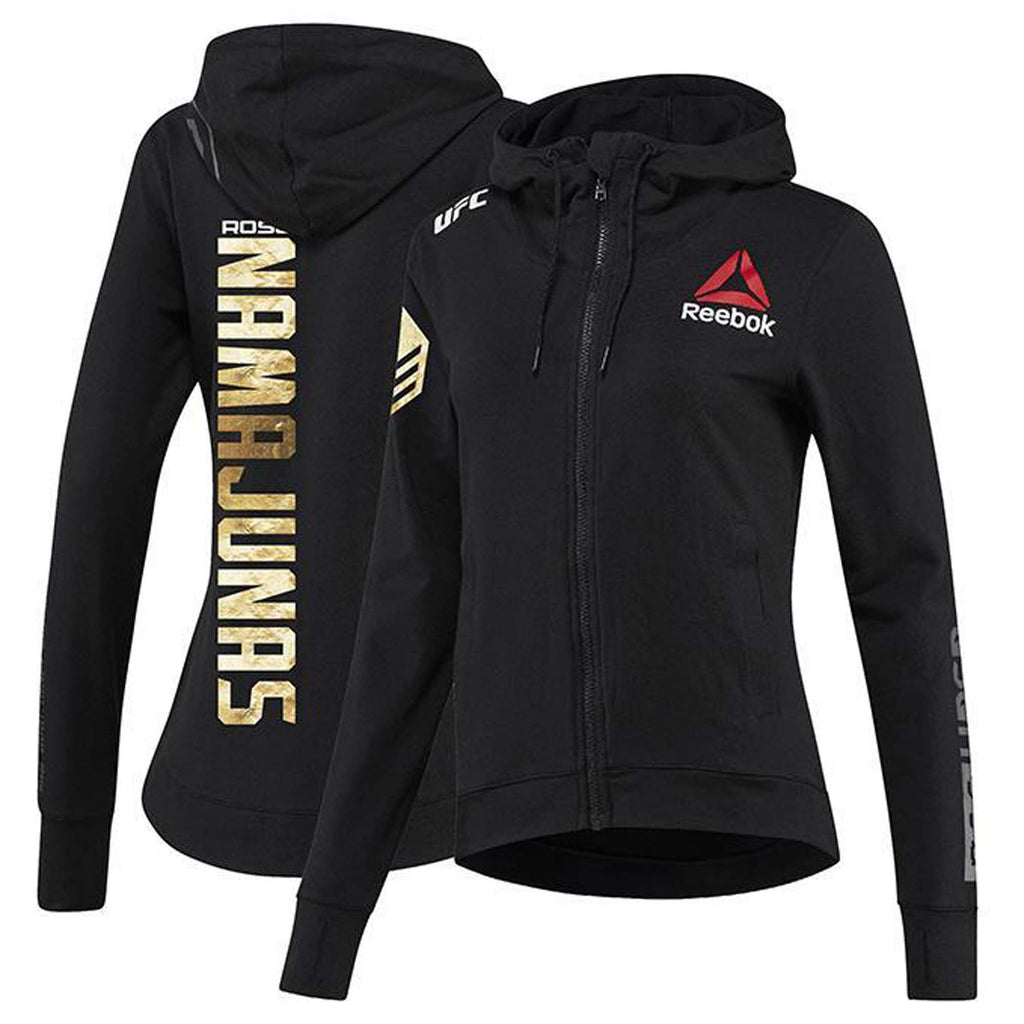 Womens Reebok Rose Namajunas Champion UFC Fight Night Walkout Hoodie Replica