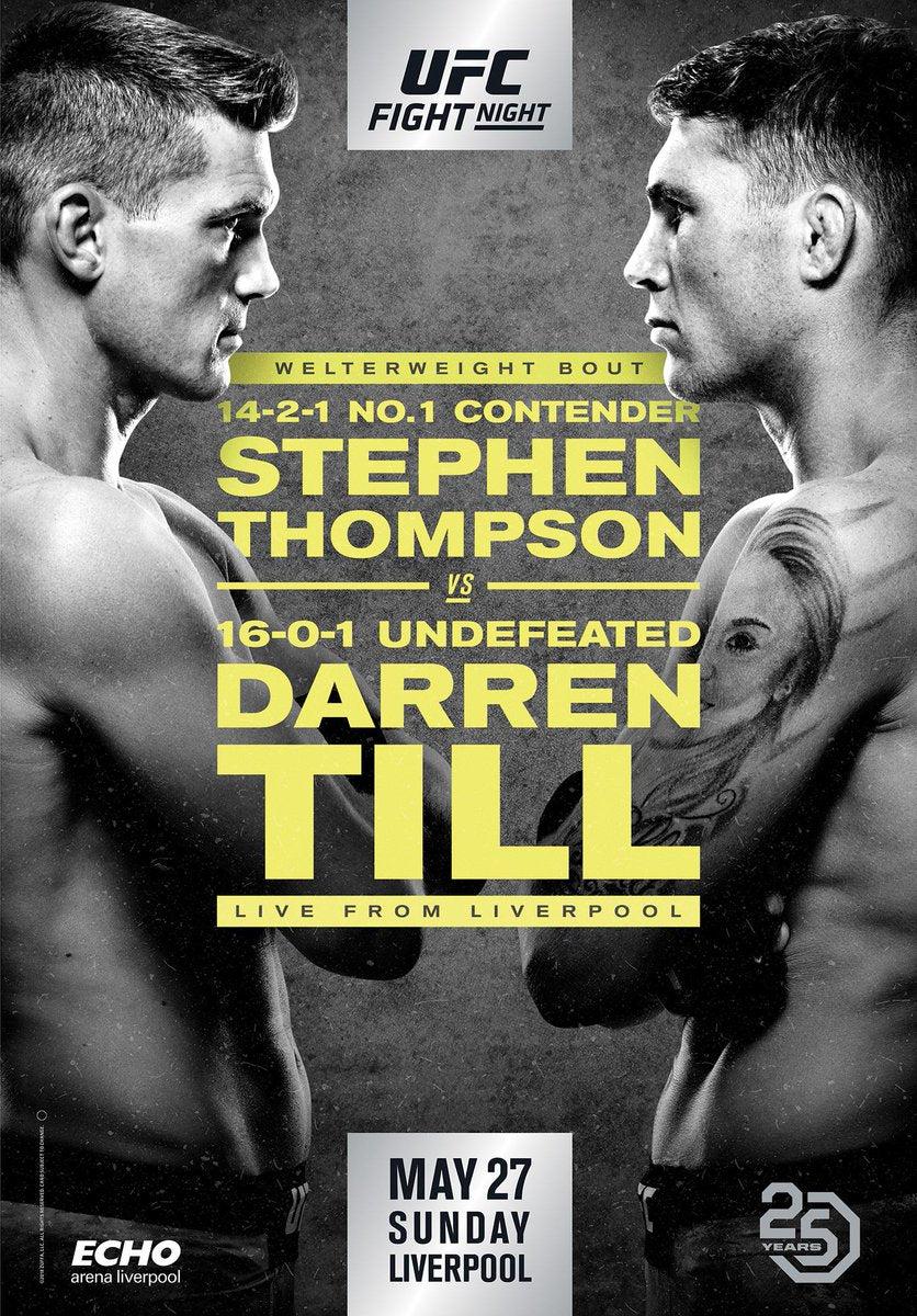 "UFC Fight Night 130 Thompson vs. Till Liverpool Autograph Event Posters 27"" x 39"""