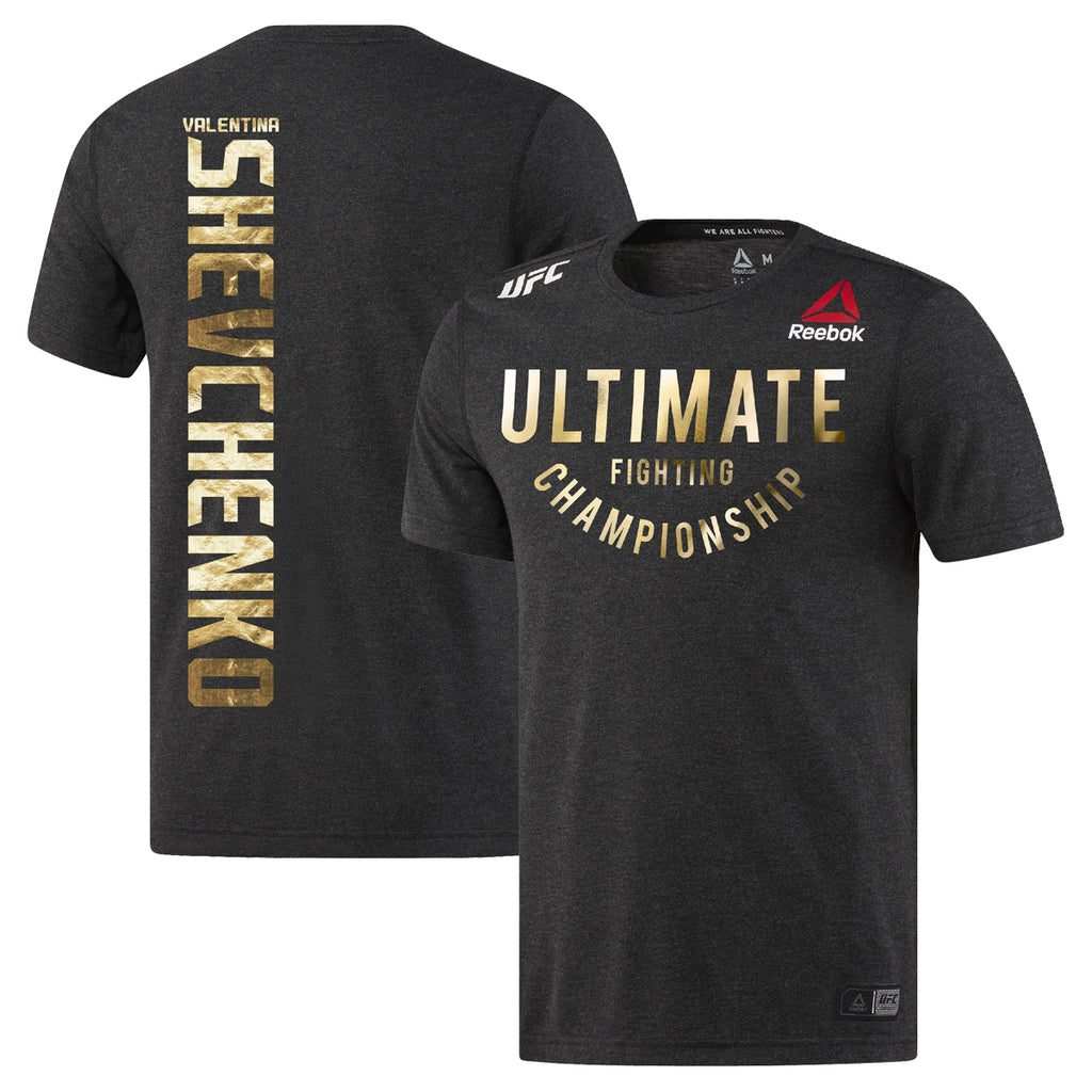 Men's Reebok Valentina Shevchenko Black Champion Authentic UFC Fight Night Walkout Jersey