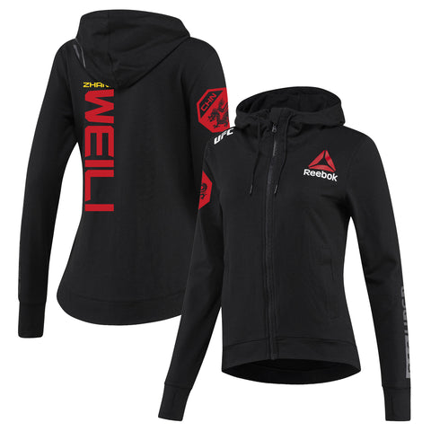 Men's Reebok Weili Zhang Black UFC Fight Night Walkout Hoodie Replica