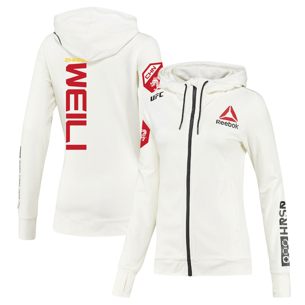 Women's Reebok Weili Zhang Chalk UFC Fight Night Walkout Hoodie Replica