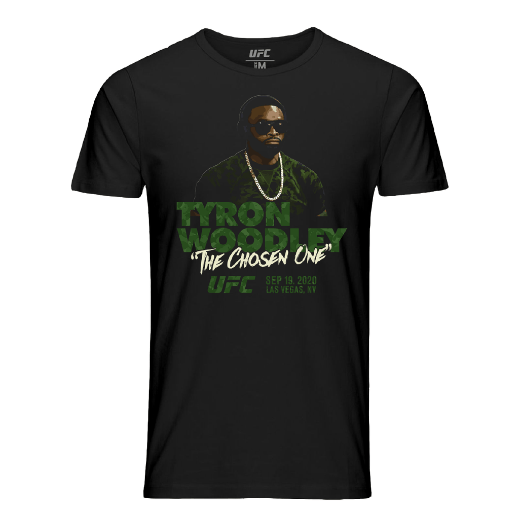 "Men's UFC Tyron Woodley ""The Chosen One"" Camo T-Shirt-Black"