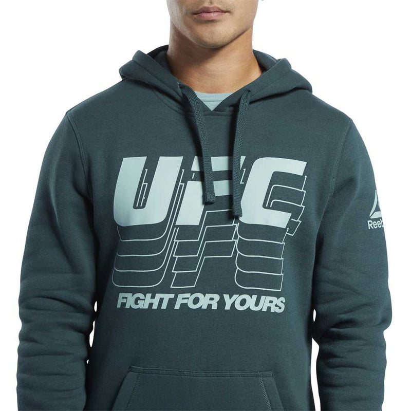 Men's Reebok Black, Fight for yours, UFC Pullover Hoodie - Ivory-Green
