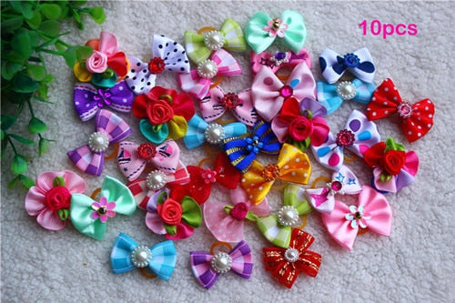 Various Style Pet Dog Bows Pet Hair Bows Rubber Bands with Diamond