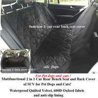 Luxury 2 in1 Waterproof Car Rear Back Seat Cover Carrier and Back Cover of SUV for Pet dogs