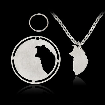 2 set Silver Dog tag Pendant Necklace Australian Shepherd Border Collie Necklaces