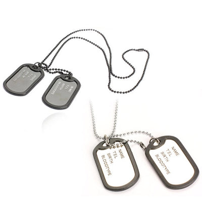 Military Army Style Black Silver 2 Dog Tags Chain Pendant Necklace Jewelry