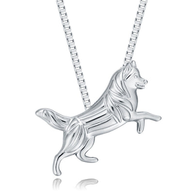 Siberian Husky Dog Pendant Silver Plated Animal Necklace