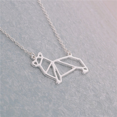 Unique Origami Corgi Dog Necklace