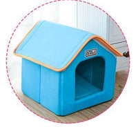 Foldable Bed With Mat Soft Winter Leopard Dog Puppy Sofa Cushion House Kennel Nest Dog Bed