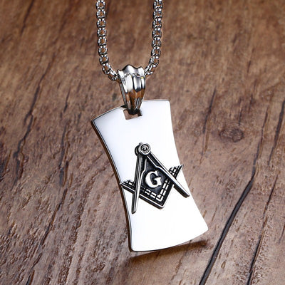 Masonic Mason Symbol Compass Dog Tag Pendant Necklace