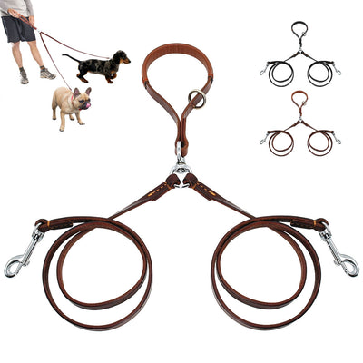 2 Ways Dog Leash Double Two Pet Leather Leads