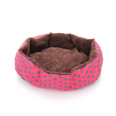Red Color Dot Pattern Pet Bed Dog Puppy Cat Soft Cotton Fleece Warm Nest House Mat