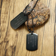 Black Gold Tone Double Dog Tag Pendant