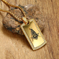 Men's Masonic Dog Tag Pendant Necklace