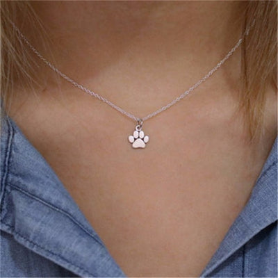 New Pet Paw Print Jewelry Necklace Silver Gold Color Dog
