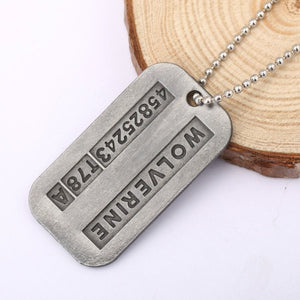 Vintage Antique Silver X MAN Dog Tag Pendant Necklace