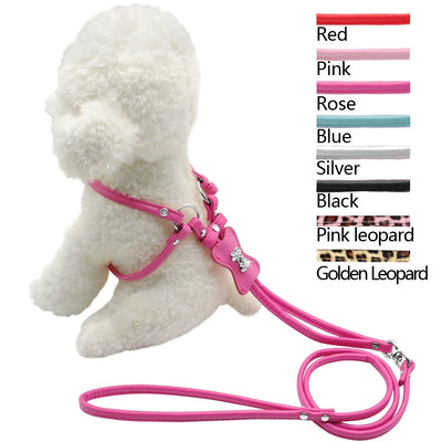 9 Colors Step-in Dog Harness PU Leather Pet and Leash