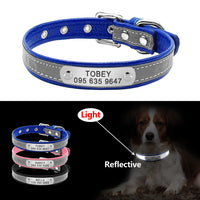 Reflective Personalized Dog Collar Leather Dog ID Collar