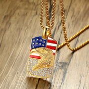 American Flag Eagle Dog Tags Pendant Necklace