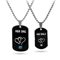 """Her King"" ""His Queen"" Dog Tag Couple Necklace"