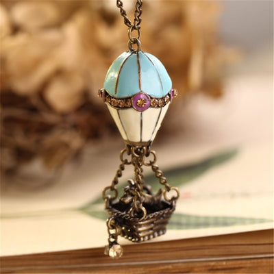 Fashion Jewelry Metal Hot Air Balloon Dog Pendant Sweater Chain Vintage