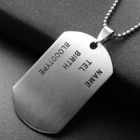 Military Army ID Tag Badge Name Dog Tags Pendant