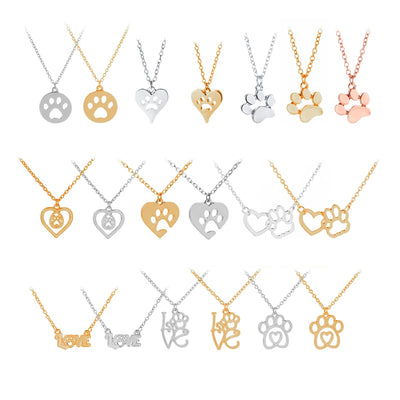 hollow pet paw prints necklaces dog lover pet jewelry  charm necklace