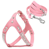 Soft Suede Leather Dog Harness and Leash Set