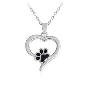 Black Dog Paw in the Heart Necklace