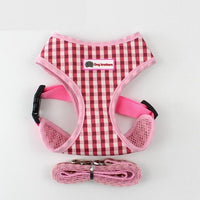 Plaid Adjustable Dog Harness Vest Small Pet Dog Harness