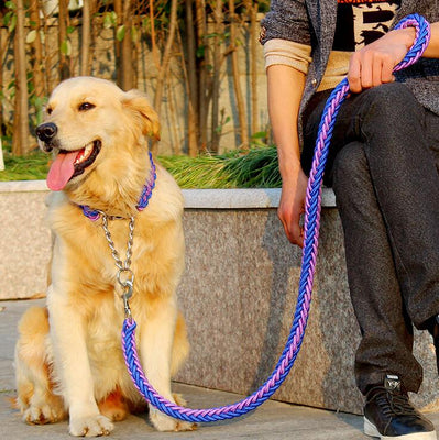 Double Strand Rope Large Dog Leashes Metal P Chain Buckle