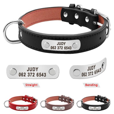 Custom Engraved Pet Dog Collar PU Leather Personalized