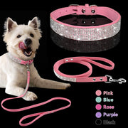 Adjustable Suede Leather Puppy Dog Collar Leash Set Soft Rhinestone