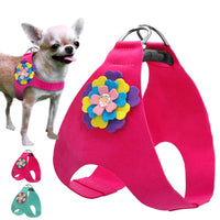 Soft Suede Leather Dog Harness Floral Vest
