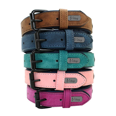 Soft Dog Collars Leather Padded Big Dog Pitbull Bulldog Collar