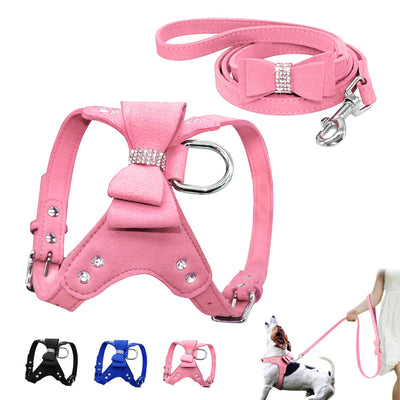 Soft Suede Leather Puppy Dog Harness Lead Leash Se