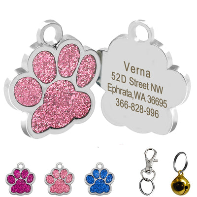 Drop shipping Paw Shape Dog ID Tag Engraved Dog ID Name