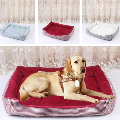 Basket Plaid Pet Cat Dog Bed House Detachable Mat Cushion