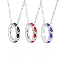 Enamel Red Black Blue Dog Paw Footprints Necklace