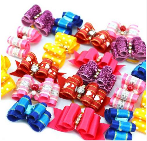 Handmade Pet Dog Bow Diamond Pearl Pet Supplies Pet Hair bows