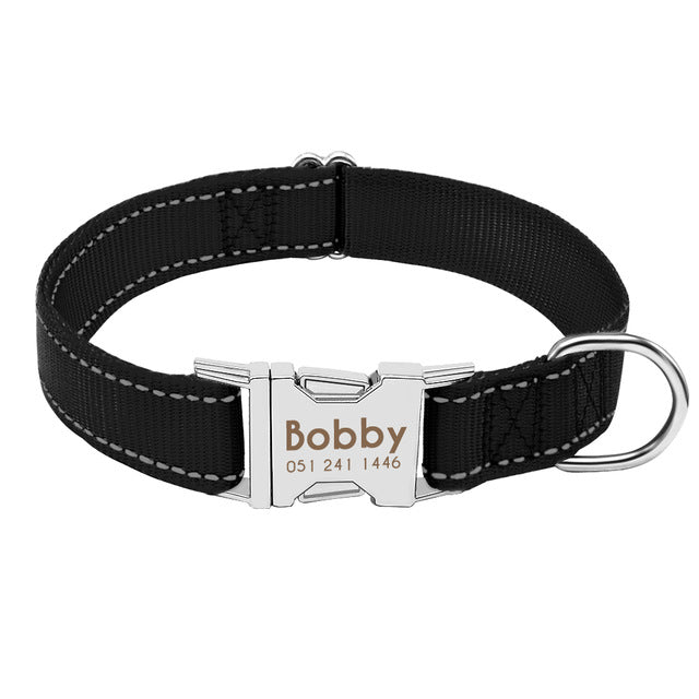 Personalized Dog Collar Durable Nylon Reflective Collar