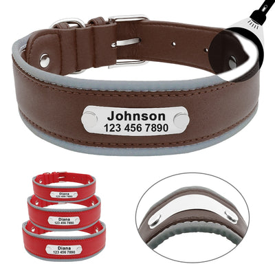 Reflective Large Dog Collar Leather Personalized Pet Dog Collars