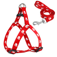 Paw Print Small Dog Harness and Leash Soft Nylon