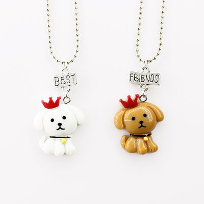 1Set Friendship Dog Stereo Imitation BFF Necklace