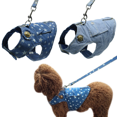 Denim Dog Harness and Leash Jeans Pet Vest Jacket