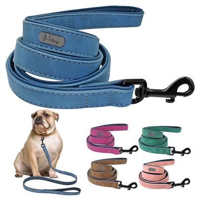 Dog Leash Leather for Large Pet Durable Real Leather Leashes Strap