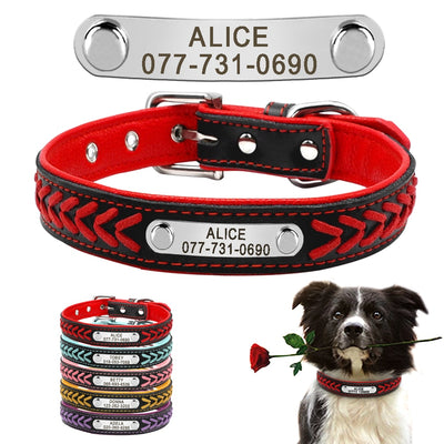 Custom Leather Dog Collar Personalized Engraved  Dog Tag Collar